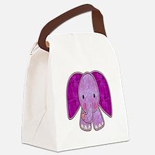Purple Elephant Canvas Lunch Bag