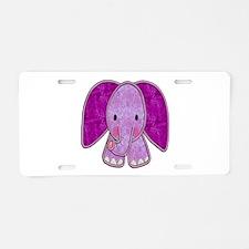 Purple Elephant Aluminum License Plate