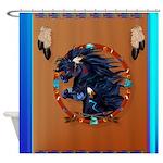 Two Black Horse Mandala-Blue Shower Curtain