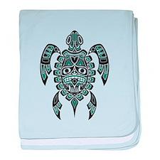 Teal Blue and Black Haida Sea Turtle baby blanket