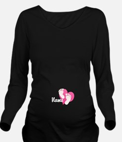 Baby Footprints and Name Long Sleeve Maternity T-S
