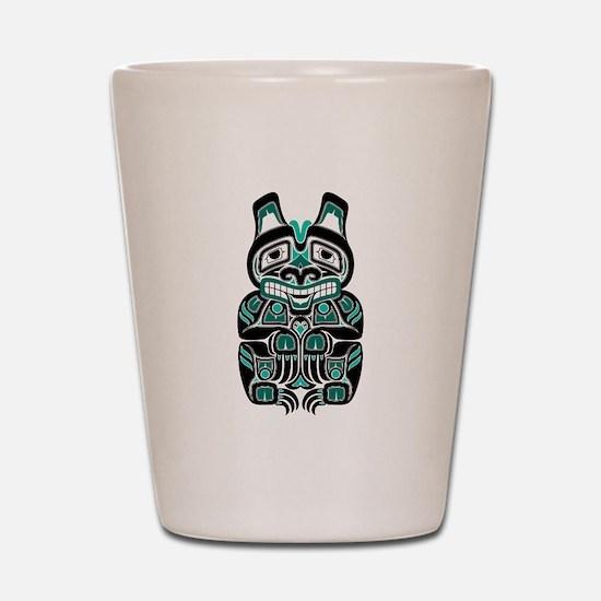 Teal Blue and Black Haida Spirit Bear Shot Glass
