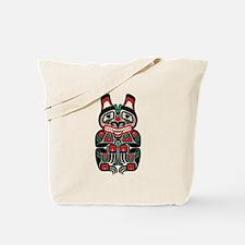 Red Green and Black Haida Spirit Bear Tote Bag
