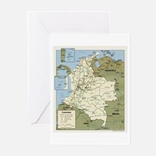Politic map Colombia Greeting Cards (Pk of 10)