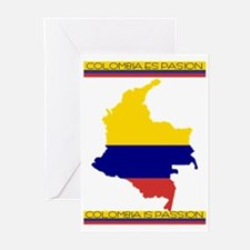 Map Colombia es pasion Greeting Cards (Package of