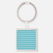 Aqua and White Stripes Keychains