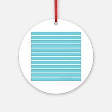 Aqua and White Stripes Ornament (Round)