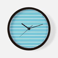 Aqua and White Stripes Wall Clock