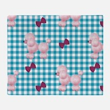 Pink Poodles And Bows Throw Blanket