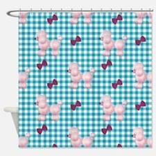 Pink Poodles And Bows Shower Curtain