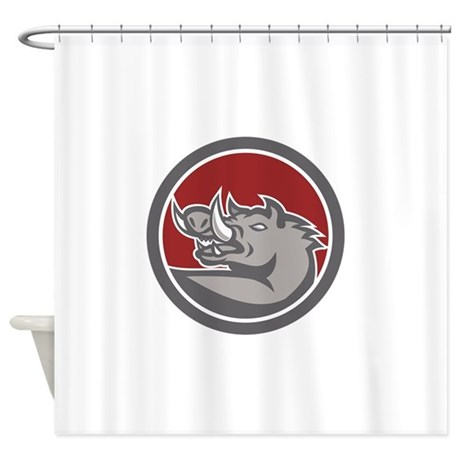 Razorback Head Looking Up Circle Shower Curtain