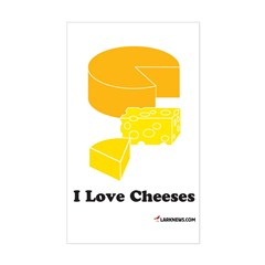 I Love Cheeses Rectangle Decal