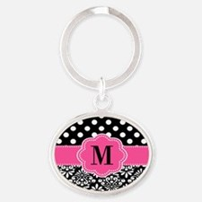 Pink Black Dots Damask Monogram Keychains