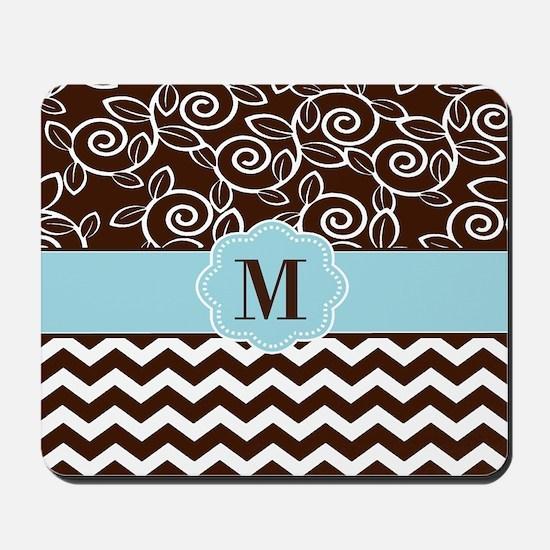 Brown Blue Chevron Scroll Monogram Mousepad