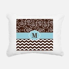 Brown Blue Chevron Scroll Monogram Rectangular Can