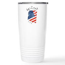 Grungy American flag inside Arizona map Travel Mug
