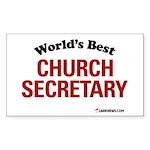 World's Best Church Secretary Sticker (Rectangular