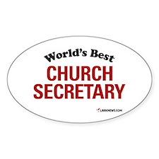 World's Best Church Secretary Oval Decal