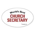 World's Best Church Secretary Oval Sticker