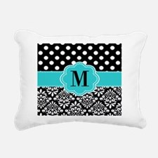 Black Blue Dots Damask Monogram Rectangular Canvas