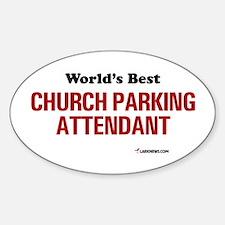 World's Best Church Parking A Oval Decal