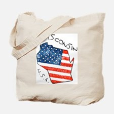 Grungy American flag inside Wisconsin State Tote B
