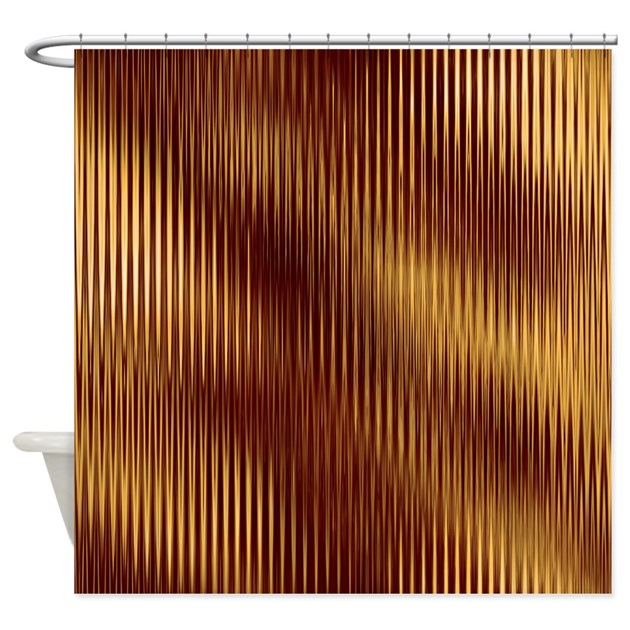 Dark Red And Gold Stripes Shower Curtain By CutePrints