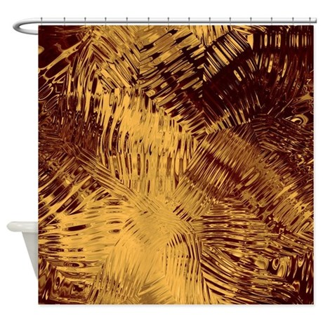 Dark Red And Gold Glass Shower Curtain By CutePrints