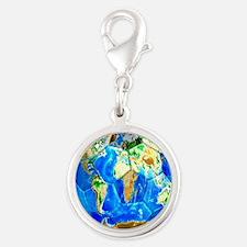 World Soccer Ball Silver Round Charm