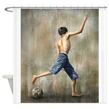 """The Desire"" Soccer Art Shower Curtain"