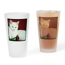 White Cat and Rose Drinking Glass