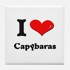 I love capybaras  Tile Coaster
