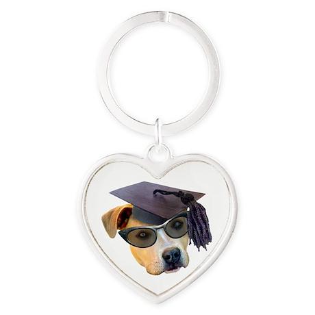 Graduate Dog Heart Keychain