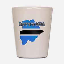 Botswana Flag Map Shot Glass