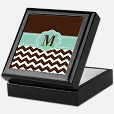 Brown Green Chevron Monogram Keepsake Box