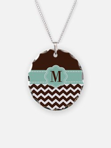 Brown Green Chevron Monogram Necklace