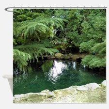Pine Trees By Stream Shower Curtain