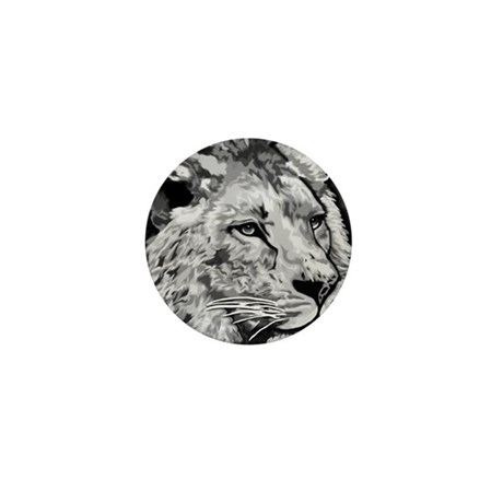 black and white lion Mini Button