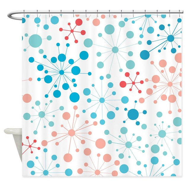 Retro Dots Aqua And Coral Shower Curtain By ColorCrazy