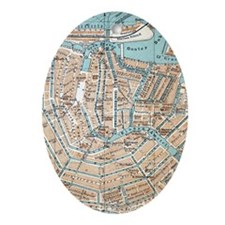 Vintage Map of Amsterdam (1905) Ornament (Oval)