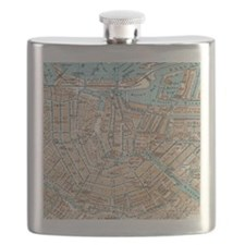 Vintage Map of Amsterdam (1905) Flask