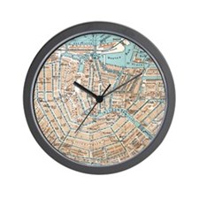Vintage Map of Amsterdam (1905) Wall Clock