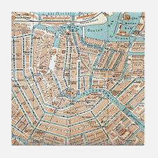 Vintage Map of Amsterdam (1905) Tile Coaster