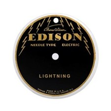 Vintage Edison Record Label Round Ornament