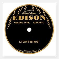"Vintage Edison Record La Square Car Magnet 3"" x 3"""