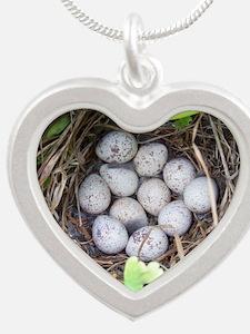 Quail Eggs Silver Heart Necklace