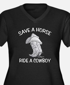 SAVE A HORSE Women's Plus Size V-Neck Dark T-Shirt