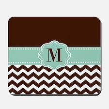 Brown Green Chevron Monogram Mousepad