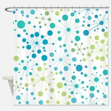 Retro Dots Aqua and Lime Shower Curtain