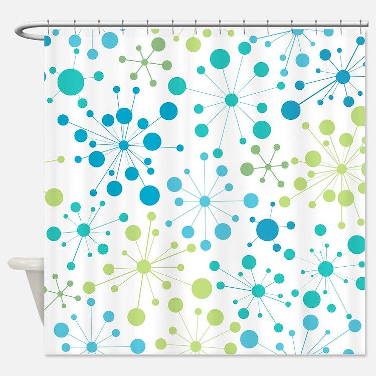 Retro Dots Aqua and Lime Shower Curtain